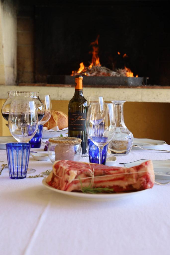 vin chateau carteau matras bord du feu